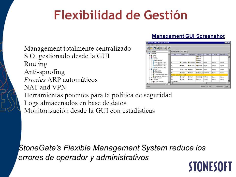 Flexibilidad de Gestión Management GUI Screenshot StoneGates Flexible Management System reduce los errores de operador y administrativos Management to