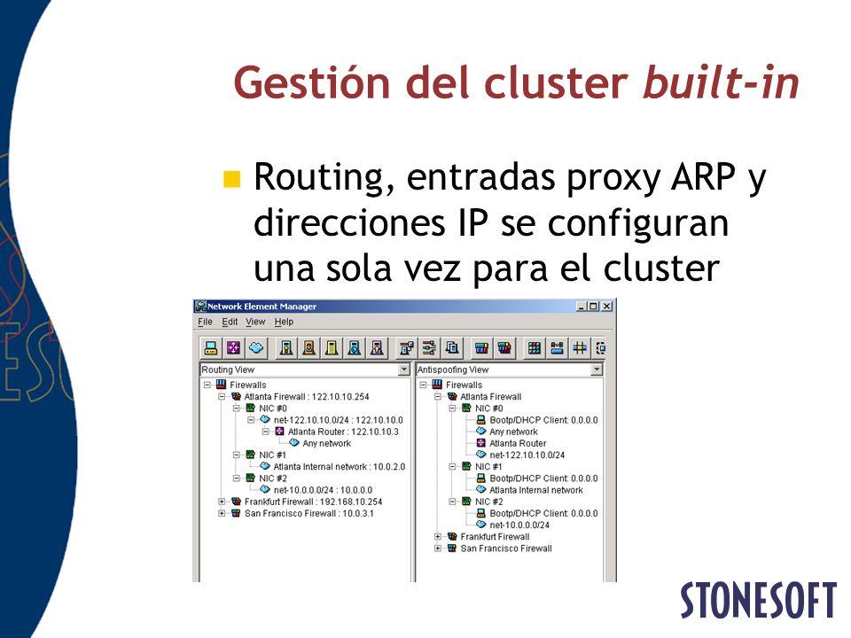 Gestión del cluster built-in Routing, entradas proxy ARP y direcciones IP se configuran una sola vez para el cluster