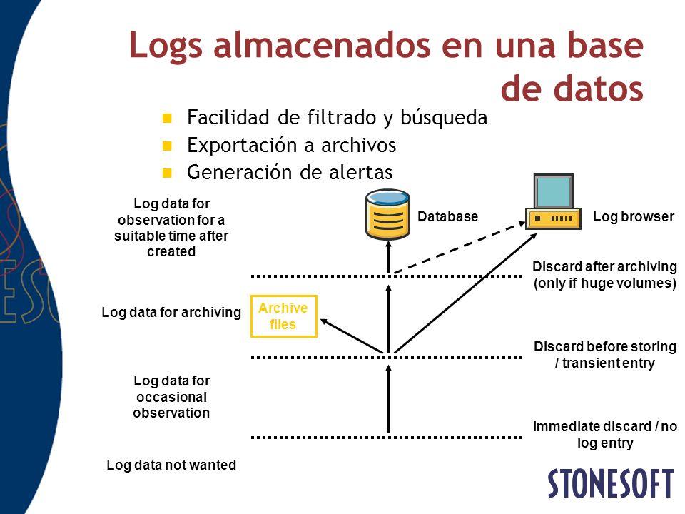 Logs almacenados en una base de datos Facilidad de filtrado y búsqueda Exportación a archivos Generación de alertas Immediate discard / no log entry D