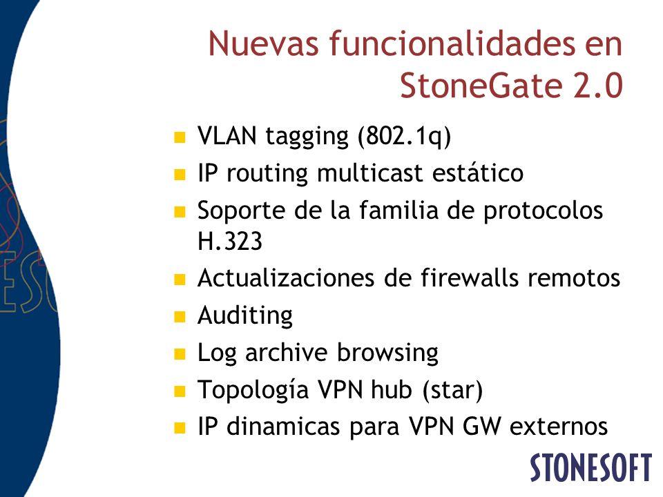 Nuevas funcionalidades en StoneGate 2.0 VLAN tagging (802.1q) IP routing multicast estático Soporte de la familia de protocolos H.323 Actualizaciones