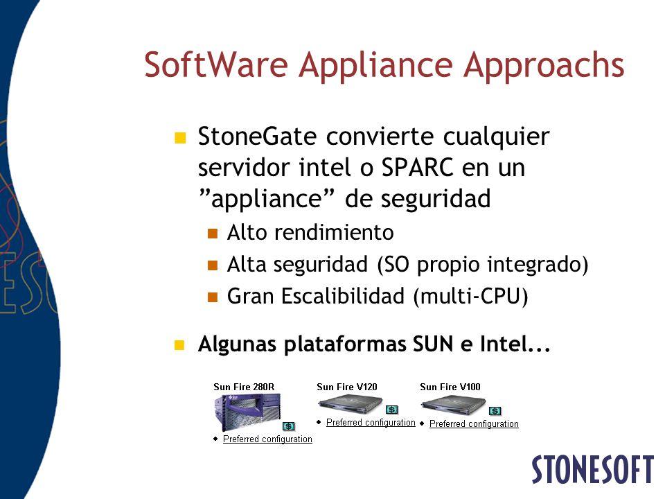SoftWare Appliance Approachs StoneGate convierte cualquier servidor intel o SPARC en un appliance de seguridad Alto rendimiento Alta seguridad (SO pro