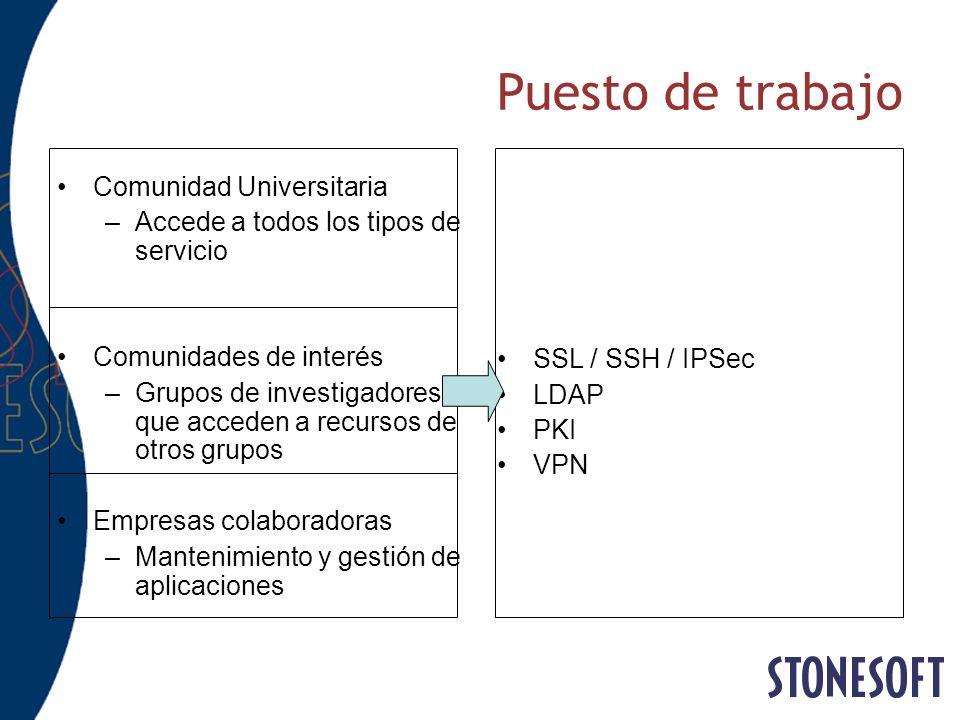 Puesto de trabajo Comunidad Universitaria –Accede a todos los tipos de servicio Comunidades de interés –Grupos de investigadores que acceden a recurso