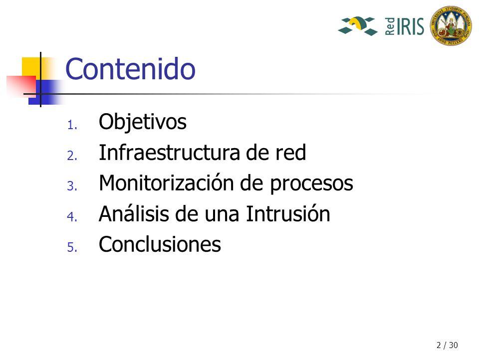 3 / 30 Contenido 1.Objetivos 2. Infraestructura de red 3.