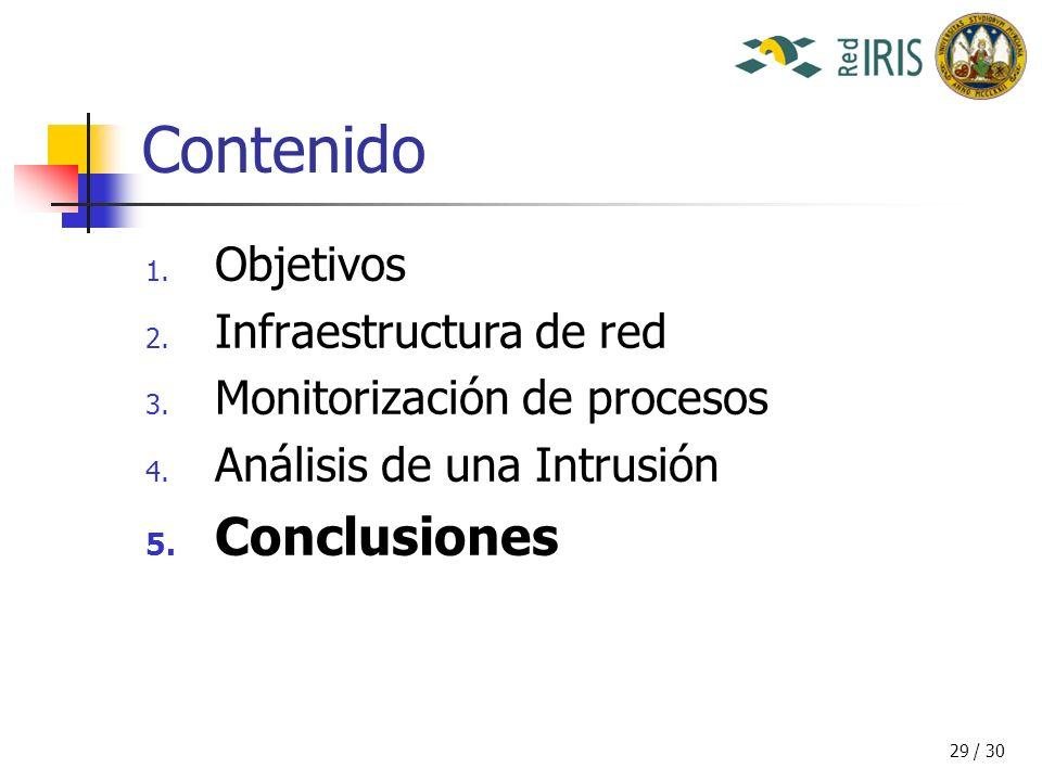 29 / 30 Contenido 1. Objetivos 2. Infraestructura de red 3.