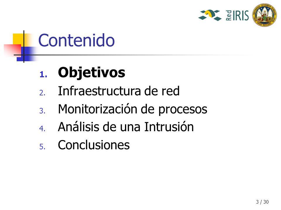 14 / 30 Contenido 1.Objetivos 2. Infraestructura de red 3.