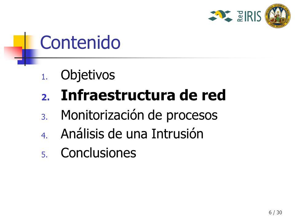 6 / 30 Contenido 1. Objetivos 2. Infraestructura de red 3.