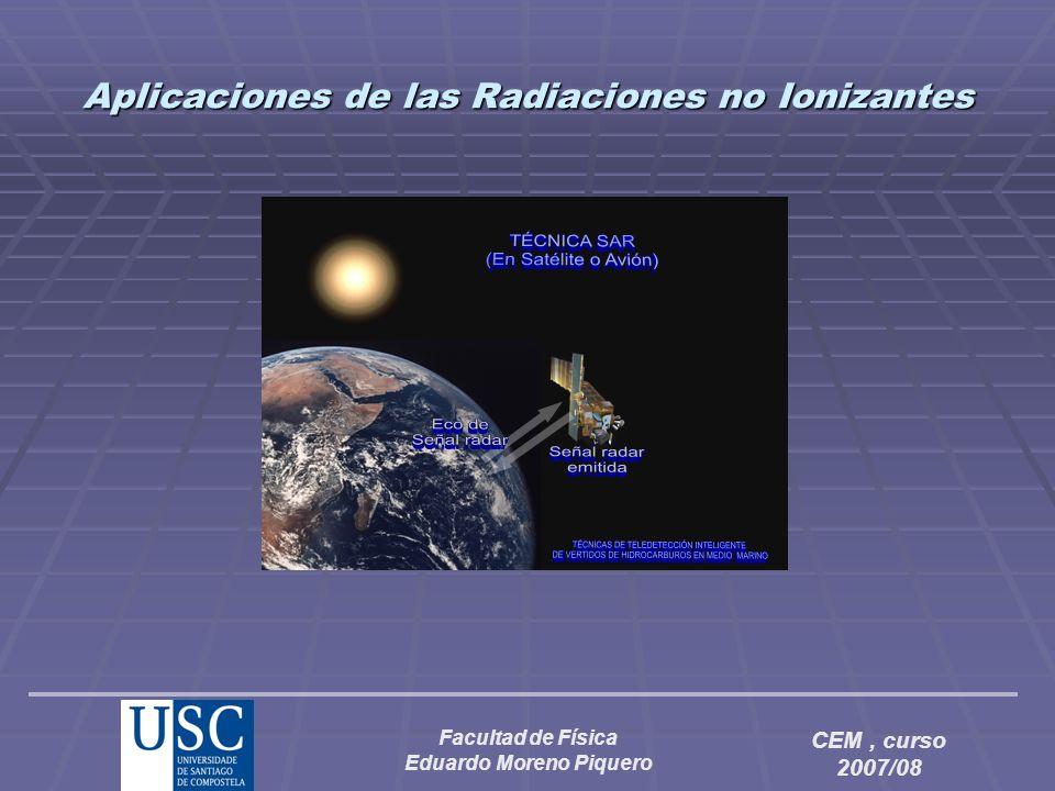 Facultad de Física Eduardo Moreno Piquero CEM, curso 2007/08 Los radiómetros también se utilizan en radioastronomía, lo cual ha permitido detectar tanto la radiación de fondo del universo (que se supone debida a la temperatura residual del universo después de la Gran Explosión) como la radiación de cuerpos celestes que son fuertes emisores de microondas, tales como los quasares y los pulsares (si bien el origen de la radiación de microondas no procede en este caso de la radiación de cuerpo negro).