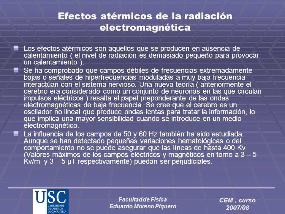 Facultad de Física Eduardo Moreno Piquero CEM, curso 2007/08 Efectos atérmicos de la radiación electromagnética Los efectos atérmicos son aquellos que