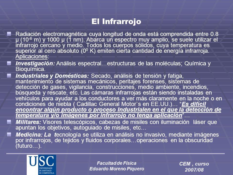 Facultad de Física Eduardo Moreno Piquero CEM, curso 2007/08 El Infrarrojo Radiación electromagnética cuya longitud de onda está comprendida entre 0.8