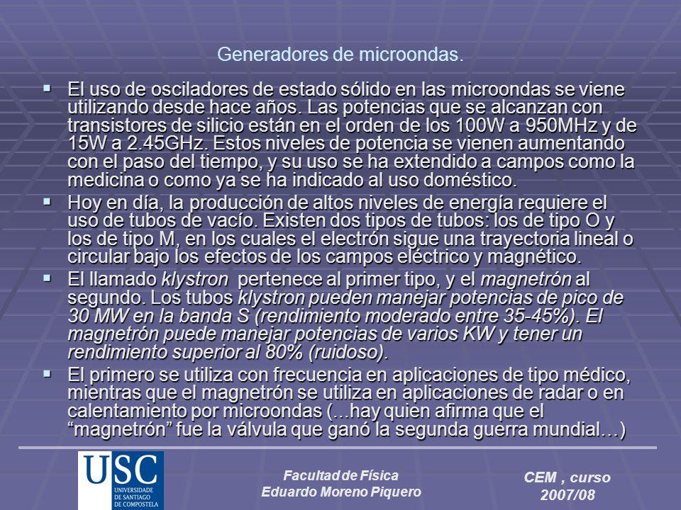 Facultad de Física Eduardo Moreno Piquero CEM, curso 2007/08 Generadores de microondas. El uso de osciladores de estado sólido en las microondas se vi