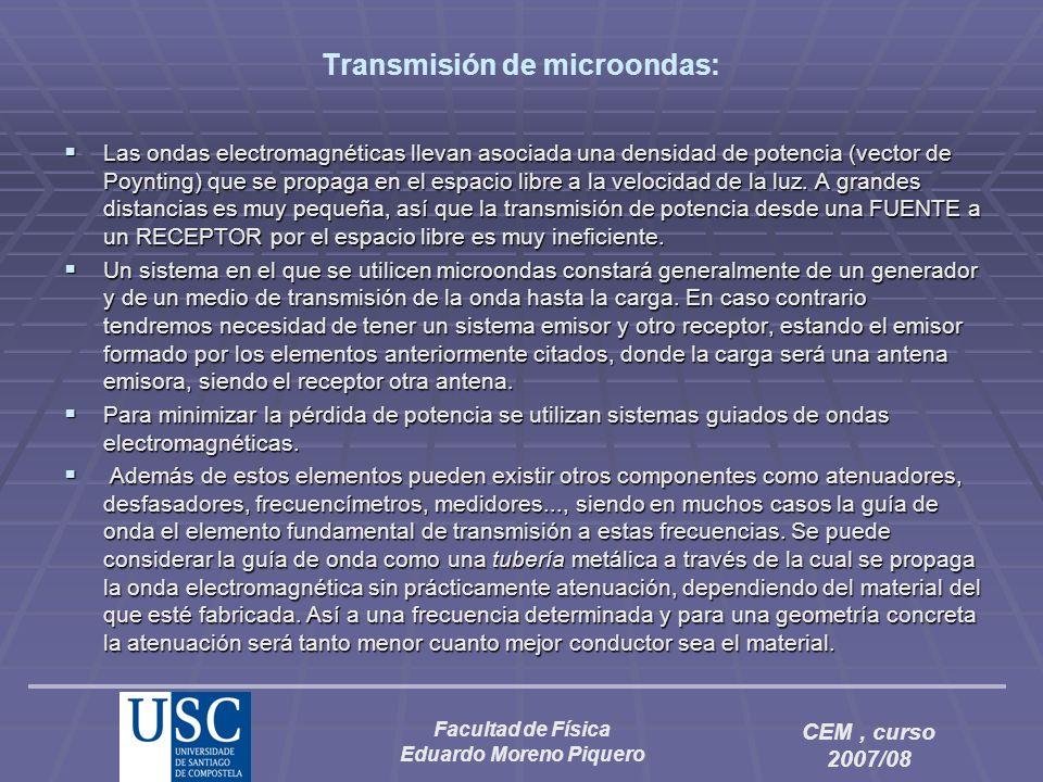 Facultad de Física Eduardo Moreno Piquero CEM, curso 2007/08 Transmisión de microondas: Las ondas electromagnéticas llevan asociada una densidad de po
