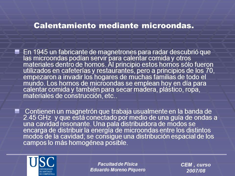 Facultad de Física Eduardo Moreno Piquero CEM, curso 2007/08 Calentamiento mediante microondas. En 1945 un fabricante de magnetrones para radar descub