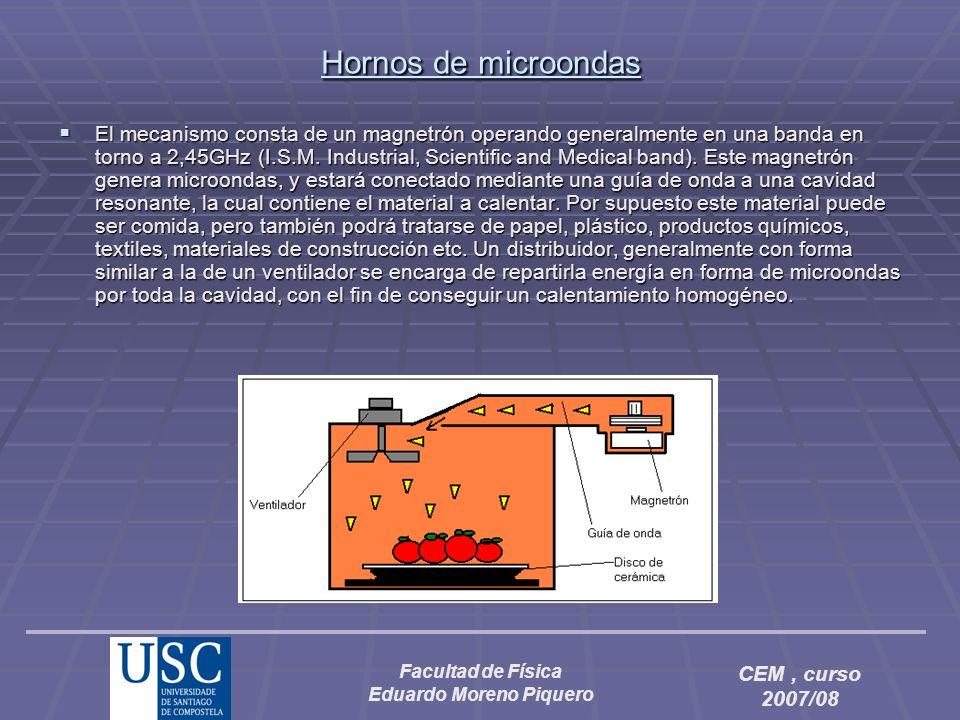 Facultad de Física Eduardo Moreno Piquero CEM, curso 2007/08 Hornos de microondas El mecanismo consta de un magnetrón operando generalmente en una ban
