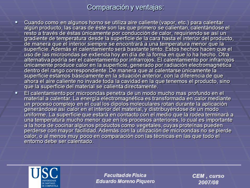 Facultad de Física Eduardo Moreno Piquero CEM, curso 2007/08 Comparación y ventajas: Cuando como en algunos horno se utiliza aire caliente (vapor, etc