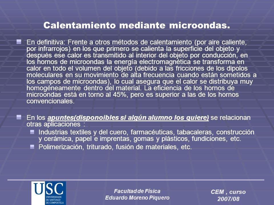 Facultad de Física Eduardo Moreno Piquero CEM, curso 2007/08 Calentamiento mediante microondas. En definitiva: Frente a otros métodos de calentamiento