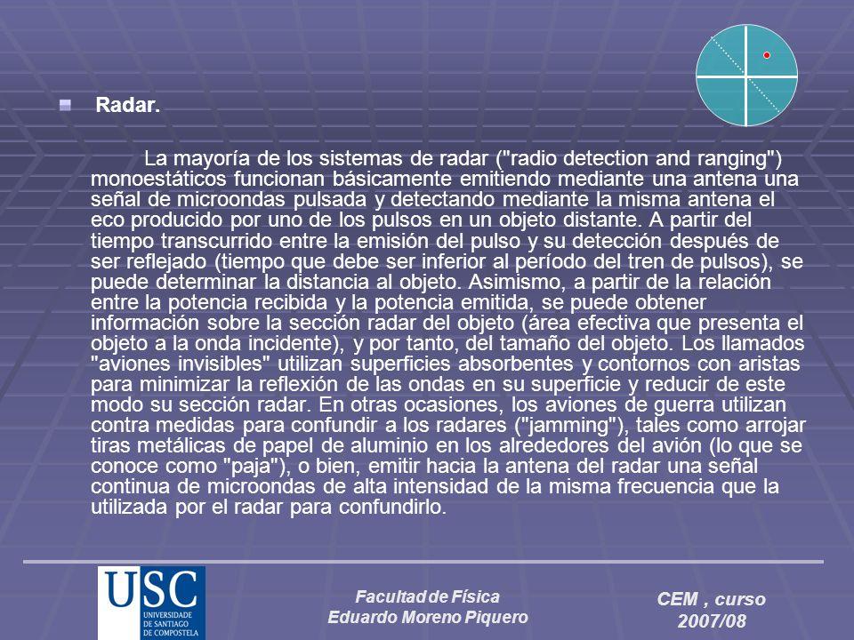 Facultad de Física Eduardo Moreno Piquero CEM, curso 2007/08 Radar. La mayoría de los sistemas de radar (