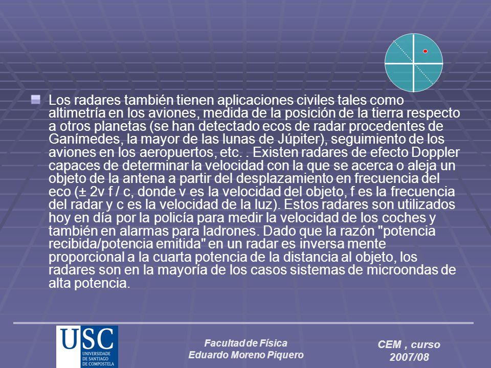 Facultad de Física Eduardo Moreno Piquero CEM, curso 2007/08 Los radares también tienen aplicaciones civiles tales como altimetría en los aviones, med