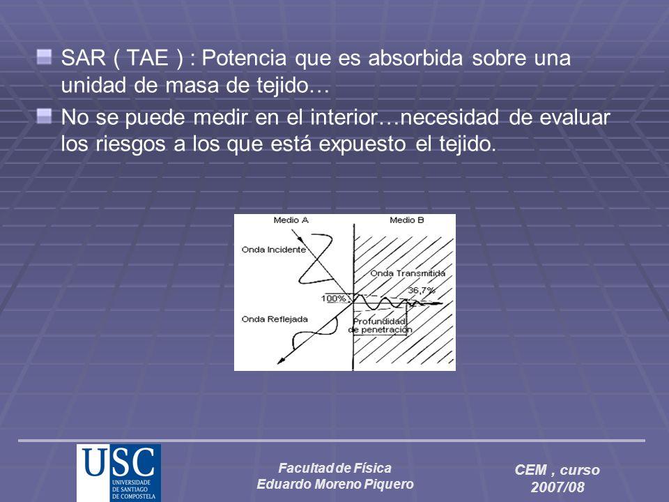 Facultad de Física Eduardo Moreno Piquero CEM, curso 2007/08 SAR ( TAE ) : Potencia que es absorbida sobre una unidad de masa de tejido… No se puede m