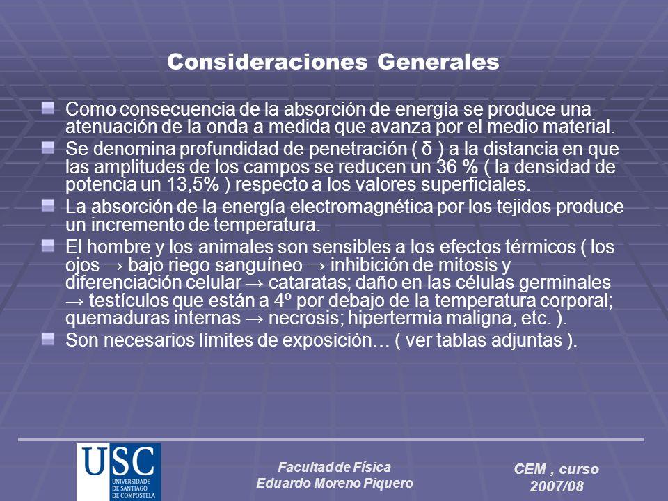 Facultad de Física Eduardo Moreno Piquero CEM, curso 2007/08 Consideraciones Generales Como consecuencia de la absorción de energía se produce una ate