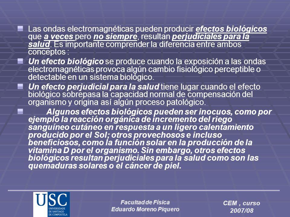 Facultad de Física Eduardo Moreno Piquero CEM, curso 2007/08 Las ondas electromagnéticas pueden producir efectos biológicos que a veces pero no siempr