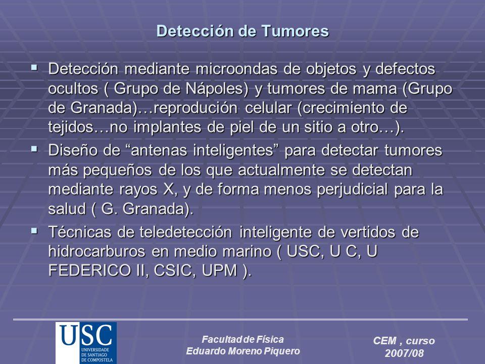 Facultad de Física Eduardo Moreno Piquero CEM, curso 2007/08 Detección de Tumores Detección mediante microondas de objetos y defectos ocultos ( Grupo