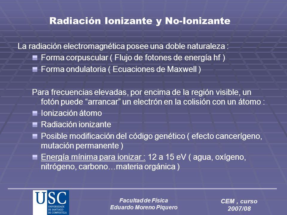 Facultad de Física Eduardo Moreno Piquero CEM, curso 2007/08 Radiación Ionizante y No-Ionizante La radiación electromagnética posee una doble naturale