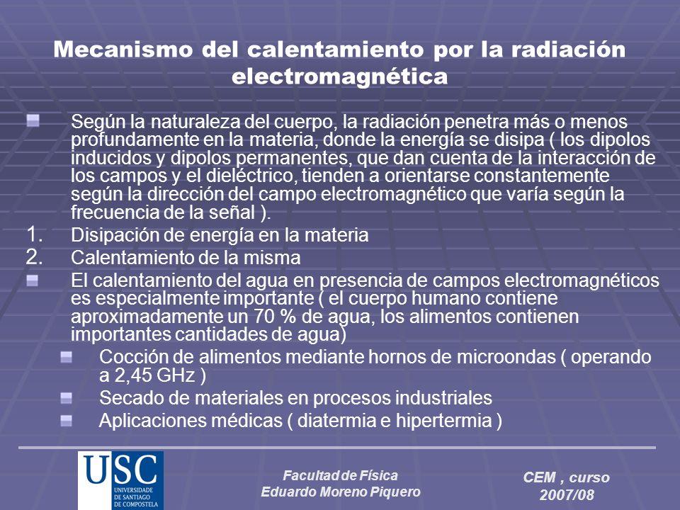 Facultad de Física Eduardo Moreno Piquero CEM, curso 2007/08 Mecanismo del calentamiento por la radiación electromagnética Según la naturaleza del cue