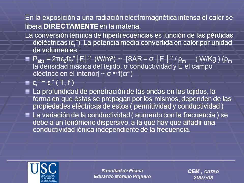 Facultad de Física Eduardo Moreno Piquero CEM, curso 2007/08 SAR = σ E 2 / ρ ( W/Kg ) (ρ la densidad másica del tejido, σ conductividad y E el campo eléctrico en el interior… control interno de los campos ?) Experimentación (Fantomas, animales : ratas, conejos, etc…riesgos extrapolación…) y simulación numérica… Aplicadores : 1.