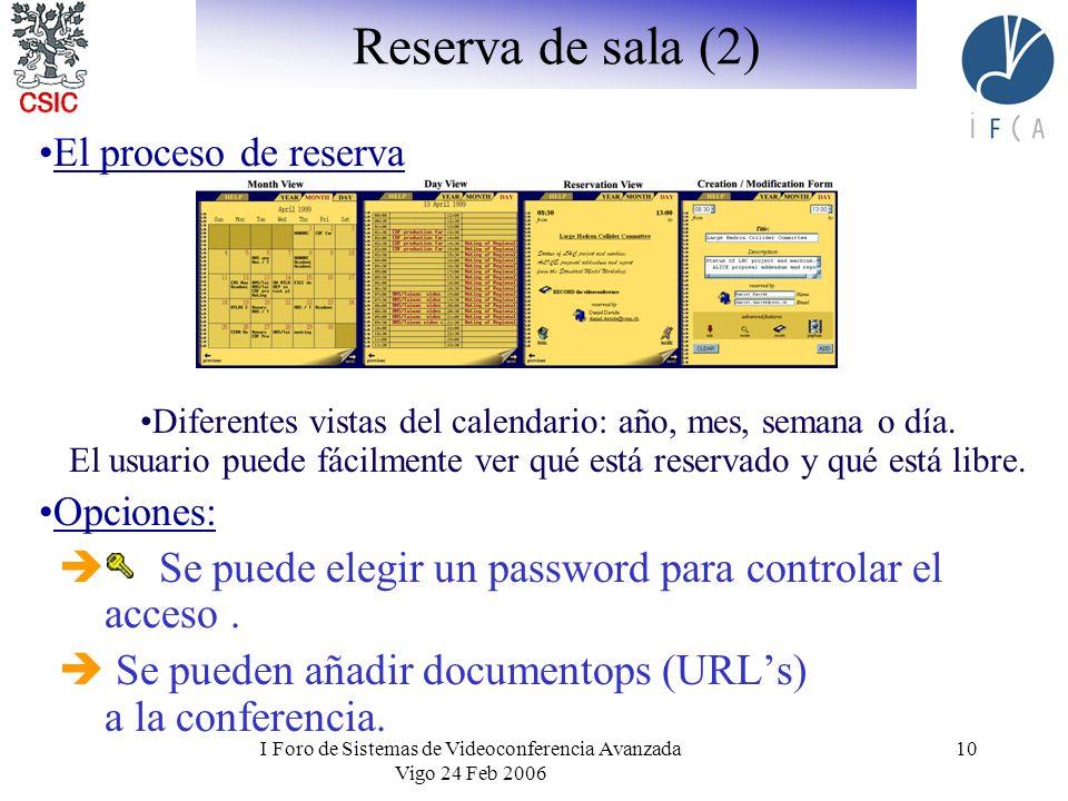 I Foro de Sistemas de Videoconferencia Avanzada Vigo 24 Feb 2006 10 Reserva de sala (2) El proceso de reserva Diferentes vistas del calendario: año, mes, semana o día.