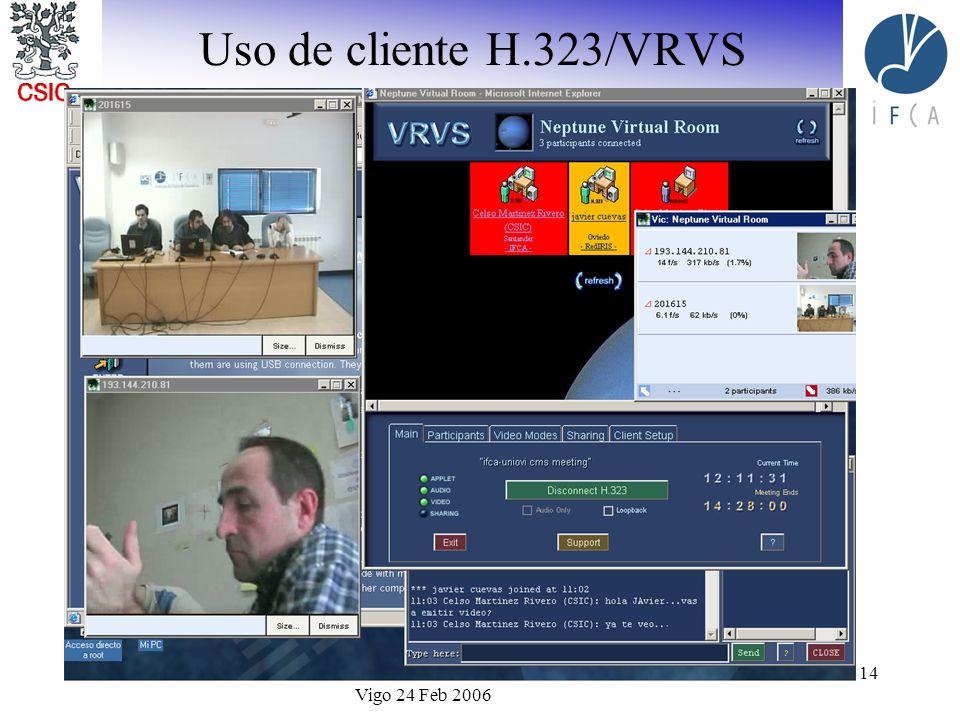 I Foro de Sistemas de Videoconferencia Avanzada Vigo 24 Feb 2006 14 Uso de cliente H.323/VRVS