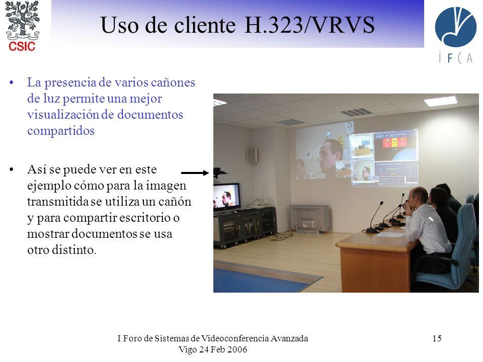 I Foro de Sistemas de Videoconferencia Avanzada Vigo 24 Feb 2006 15 Uso de cliente H.323/VRVS La presencia de varios cañones de luz permite una mejor