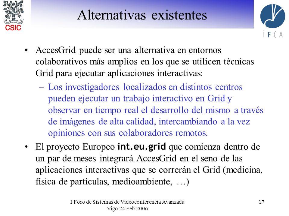 I Foro de Sistemas de Videoconferencia Avanzada Vigo 24 Feb 2006 17 Alternativas existentes AccesGrid puede ser una alternativa en entornos colaborati