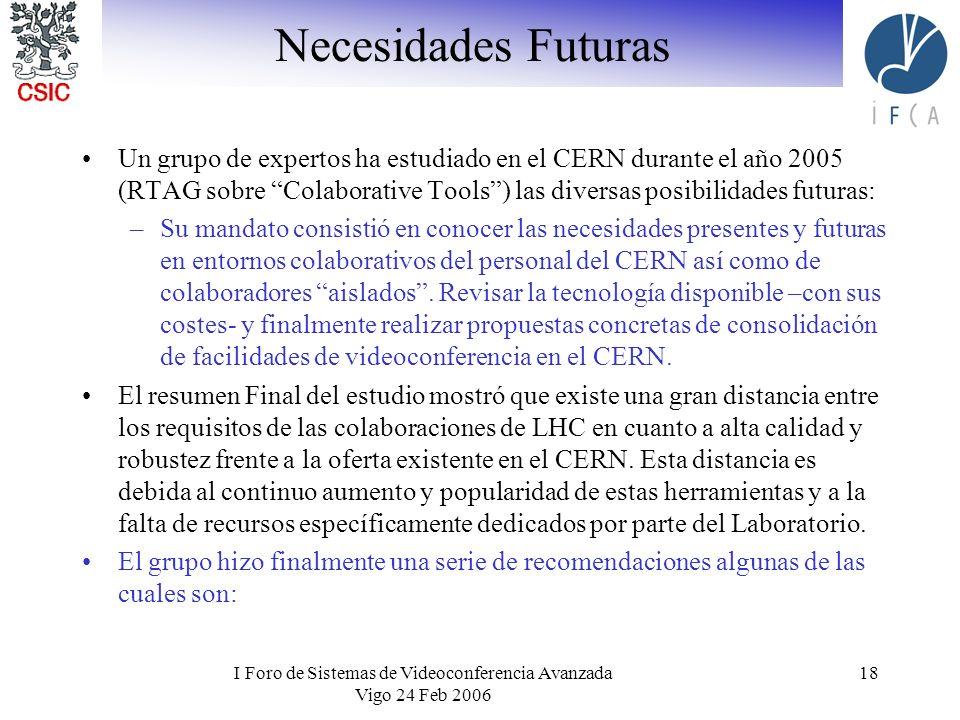 I Foro de Sistemas de Videoconferencia Avanzada Vigo 24 Feb 2006 18 Un grupo de expertos ha estudiado en el CERN durante el año 2005 (RTAG sobre Colab