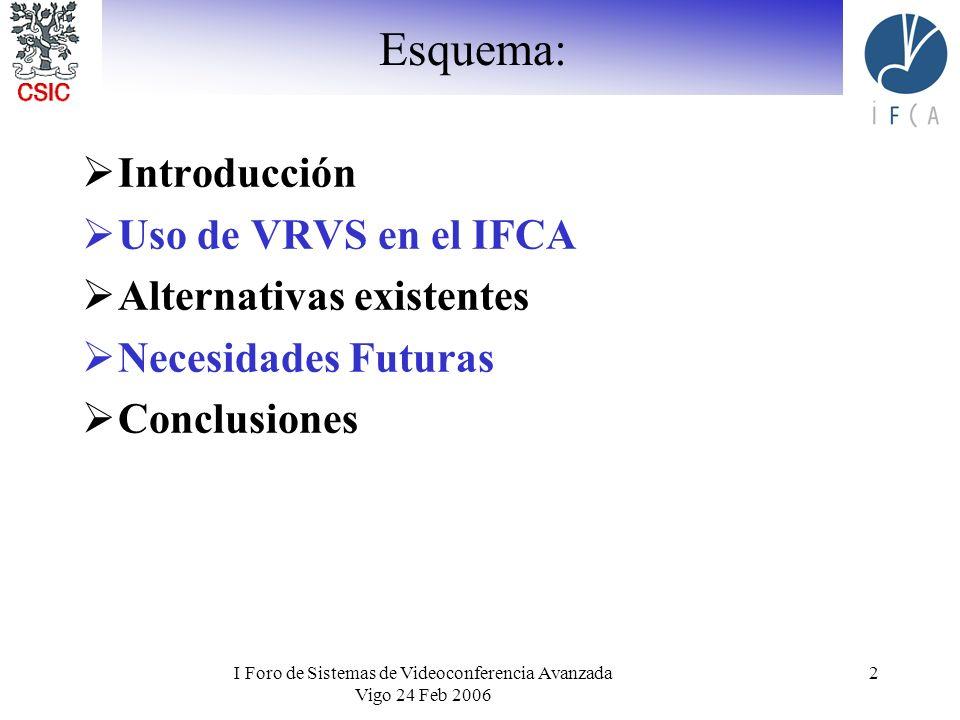 I Foro de Sistemas de Videoconferencia Avanzada Vigo 24 Feb 2006 2 Esquema: Introducción Uso de VRVS en el IFCA Alternativas existentes Necesidades Fu
