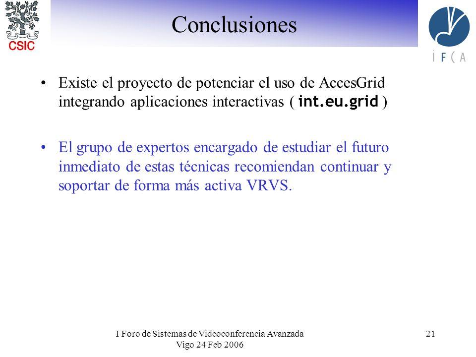 I Foro de Sistemas de Videoconferencia Avanzada Vigo 24 Feb 2006 21 Conclusiones Existe el proyecto de potenciar el uso de AccesGrid integrando aplica