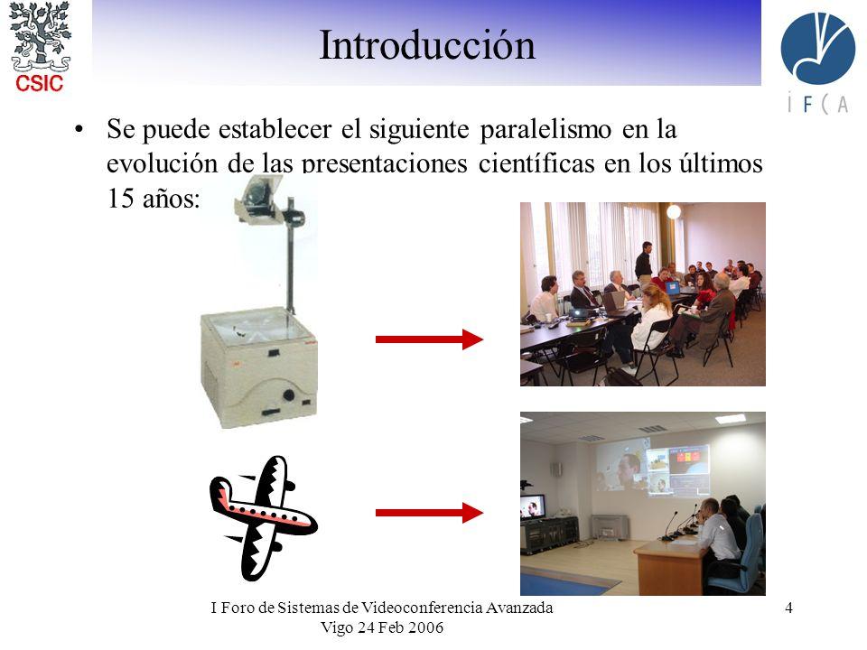 I Foro de Sistemas de Videoconferencia Avanzada Vigo 24 Feb 2006 4 Introducción Se puede establecer el siguiente paralelismo en la evolución de las presentaciones científicas en los últimos 15 años: