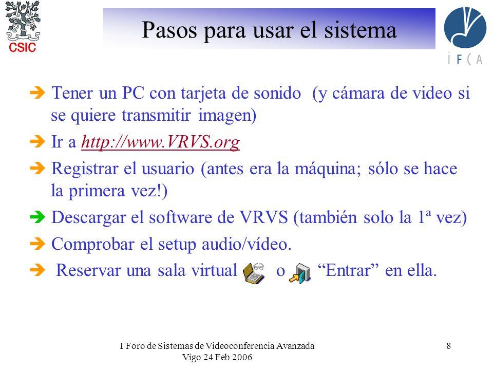 I Foro de Sistemas de Videoconferencia Avanzada Vigo 24 Feb 2006 8 Pasos para usar el sistema Tener un PC con tarjeta de sonido (y cámara de video si se quiere transmitir imagen) Ir a http://www.VRVS.orghttp://www.VRVS.org Registrar el usuario (antes era la máquina; sólo se hace la primera vez!) Descargar el software de VRVS (también solo la 1ª vez) Comprobar el setup audio/vídeo.
