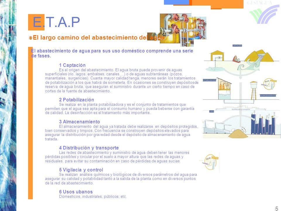 5 E.T.A.P El largo camino del abastecimiento del agua El abastecimiento de agua para sus uso doméstico comprende una serie de fases. 1 Captación Es el