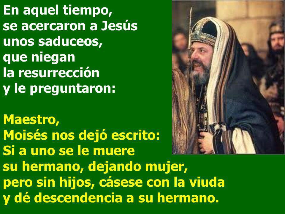 En aquel tiempo, se acercaron a Jesús unos saduceos, que niegan la resurrección y le preguntaron: Maestro, Moisés nos dejó escrito: Si a uno se le mue