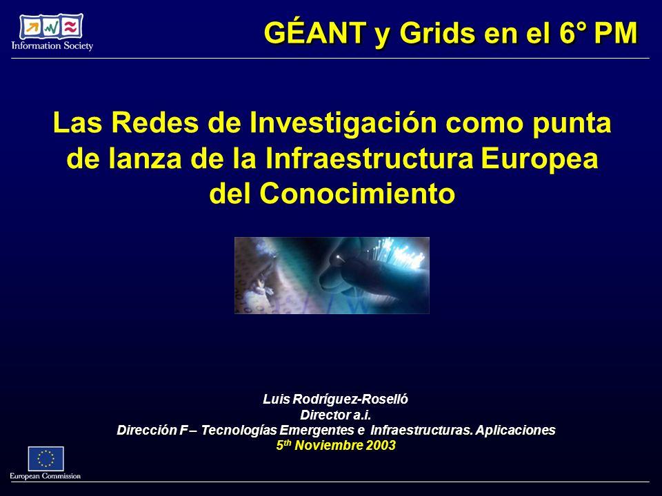 Las Redes de Investigación como punta de lanza de la Infraestructura Europea del Conocimiento Luis Rodríguez-Roselló Director a.i. Dirección F – Tecno