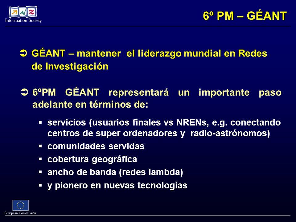GÉANT – mantener el liderazgo mundial en Redes de Investigación 6ºPM GÉANT representará un importante paso adelante en términos de: servicios (usuario