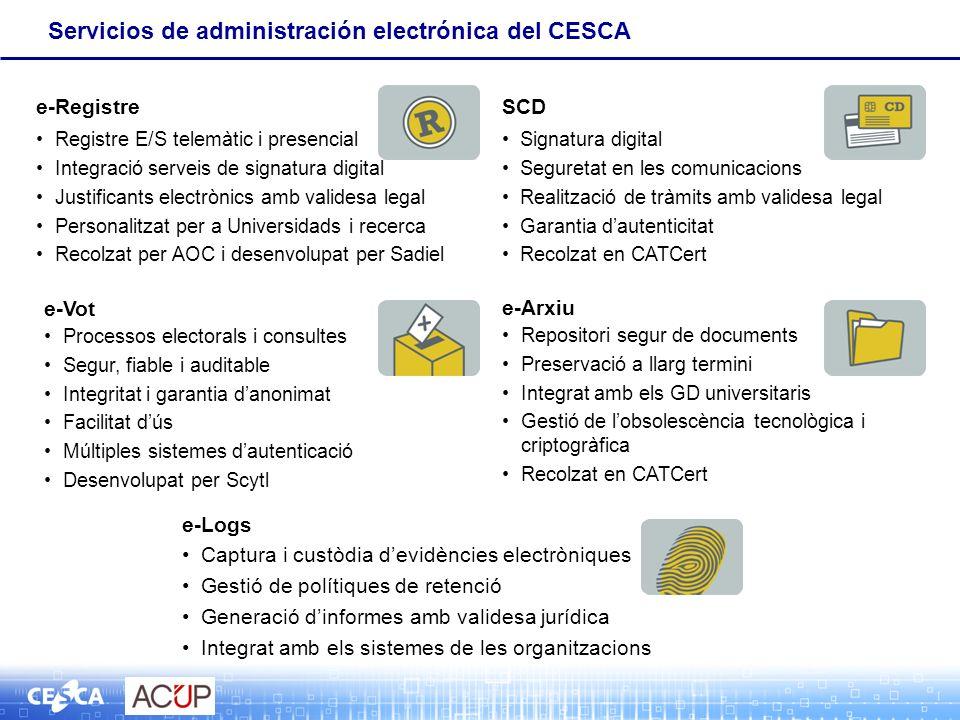 SCD Signatura digital Seguretat en les comunicacions Realització de tràmits amb validesa legal Garantia dautenticitat Recolzat en CATCert e-Arxiu Repo