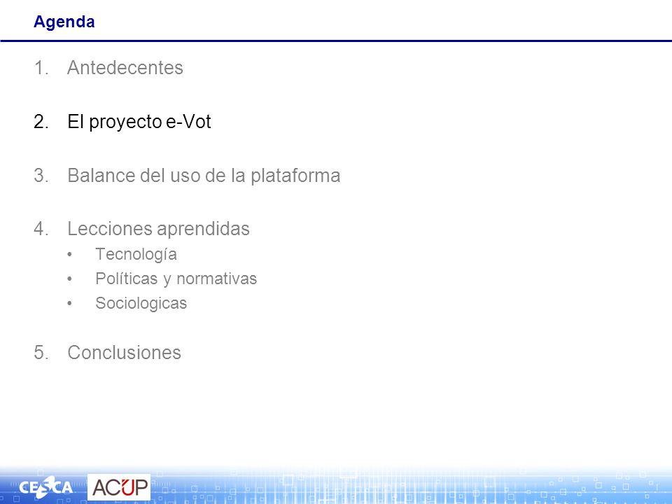 Agenda 1.Antedecentes 2.El proyecto e-Vot 3.Balance del uso de la plataforma 4.Lecciones aprendidas Tecnología Políticas y normativas Sociologicas 5.C