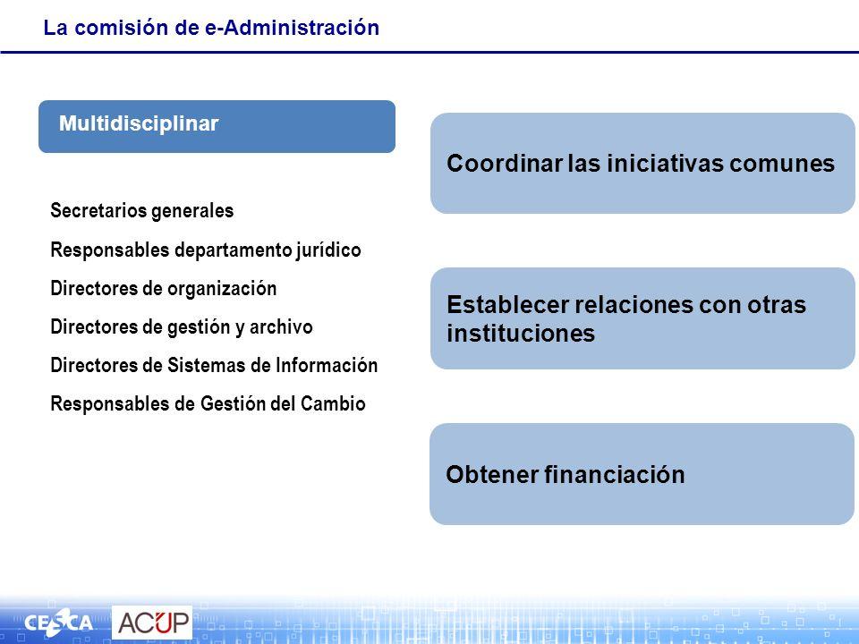 La comisión de e-Administración Secretarios generales Responsables departamento jurídico Directores de organización Directores de gestión y archivo Di