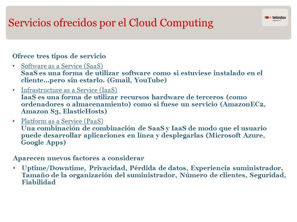 Servicios ofrecidos por el Cloud Computing Ofrece tres tipos de servicio Software as a Service (SaaS) SaaS es una forma de utilizar software como si e