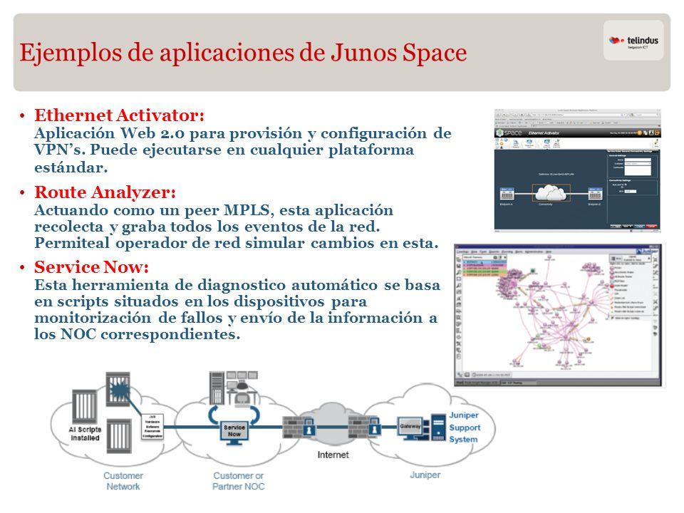 Ejemplos de aplicaciones de Junos Space Ethernet Activator: Aplicación Web 2.0 para provisión y configuración de VPNs. Puede ejecutarse en cualquier p