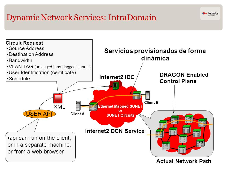 Dynamic Network Services: IntraDomain Source Address Destination Address Bandwidth VLAN TAG (untagged | any | tagged | tunnel) User Identification (ce
