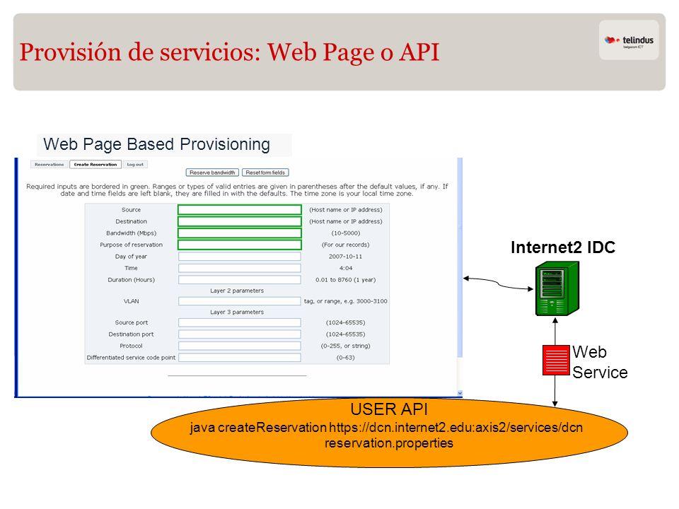 Provisión de servicios: Web Page o API Web Page Based Provisioning Internet2 IDC USER API java createReservation https://dcn.internet2.edu:axis2/servi