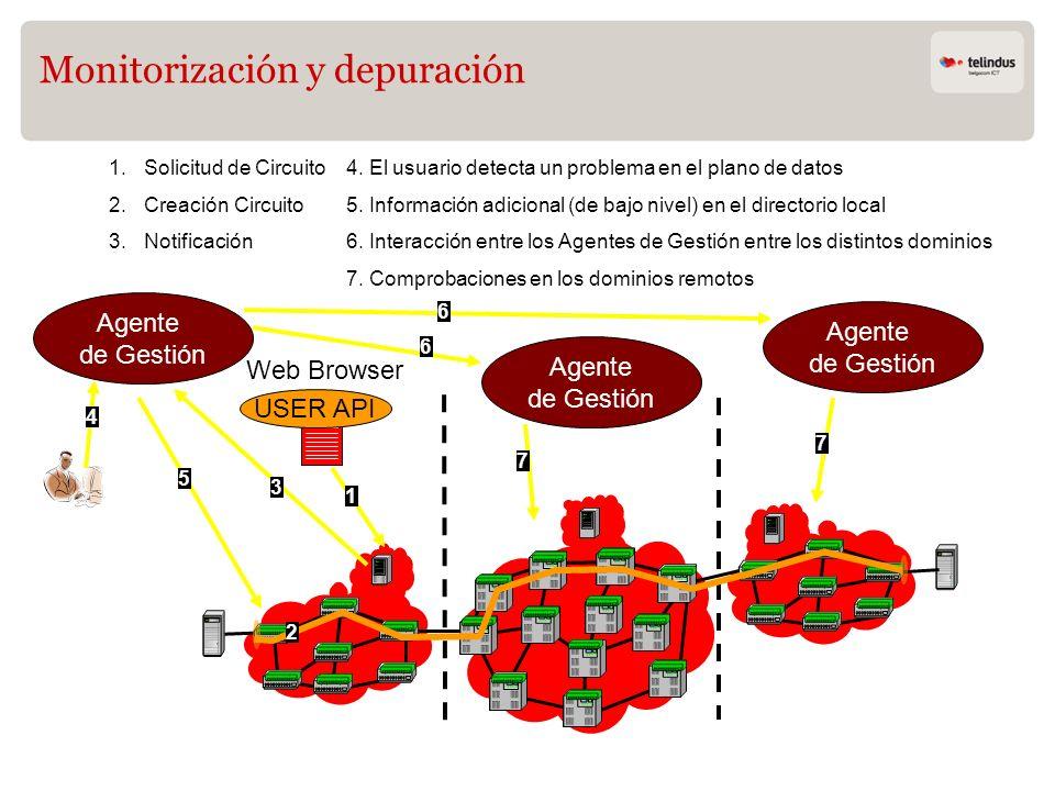 Monitorización y depuración 1 USER API Web Browser 2 Agente de Gestión 1.Solicitud de Circuito 2.Creación Circuito 3.Notificación 4 4. El usuario dete