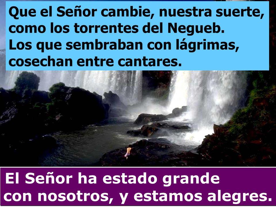 Que el Señor cambie, nuestra suerte, como los torrentes del Negueb. Los que sembraban con lágrimas, cosechan entre cantares. El Señor ha estado grande